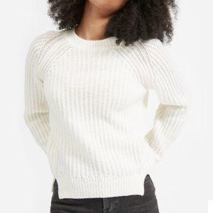 Everlane White Wool Crew Neck Sweater